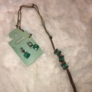 NWT necklace and earrings set in green